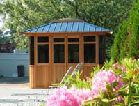 Spa  Gazebos and Spa Enclosures with green metal roof in Cedar